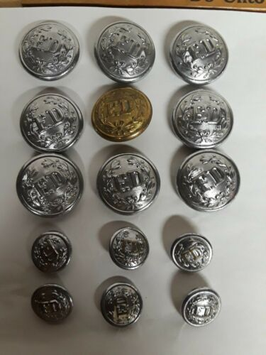 """VINTAGE  """"FD"""" FIRE DEPT UNIFORM SILVER METAL BUTTON Lot of 15 and one brass"""