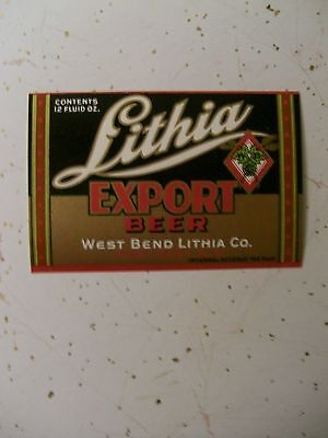 OLD 12 OZ. WEST BEND EXPORT IRTP  BEER LABEL  WEST BEND WI.