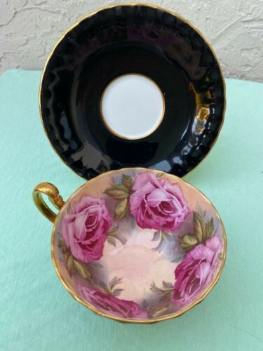 AYNSLEY C1031 PINK CABBAGE ROSES & BLACK BONE CHINA TEA CUP & SAUCER