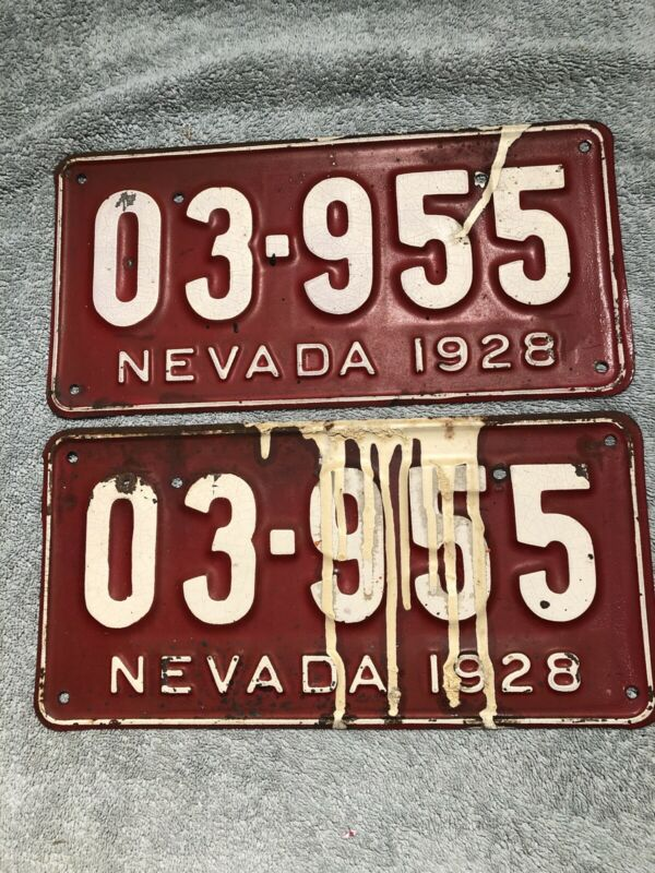 1928 Nevada License Plate Pair 03-955