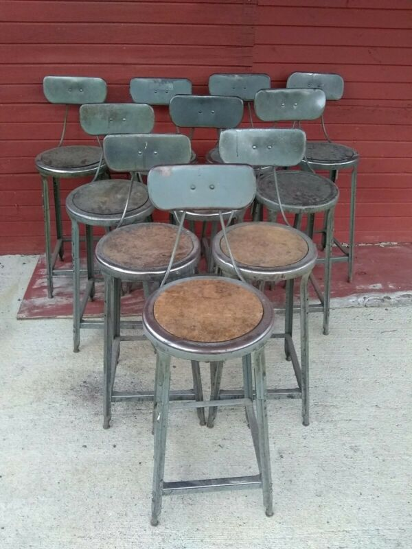 10 Vintage Retro Industrial HALLOWELL Metal Drafting Stools Steampunk