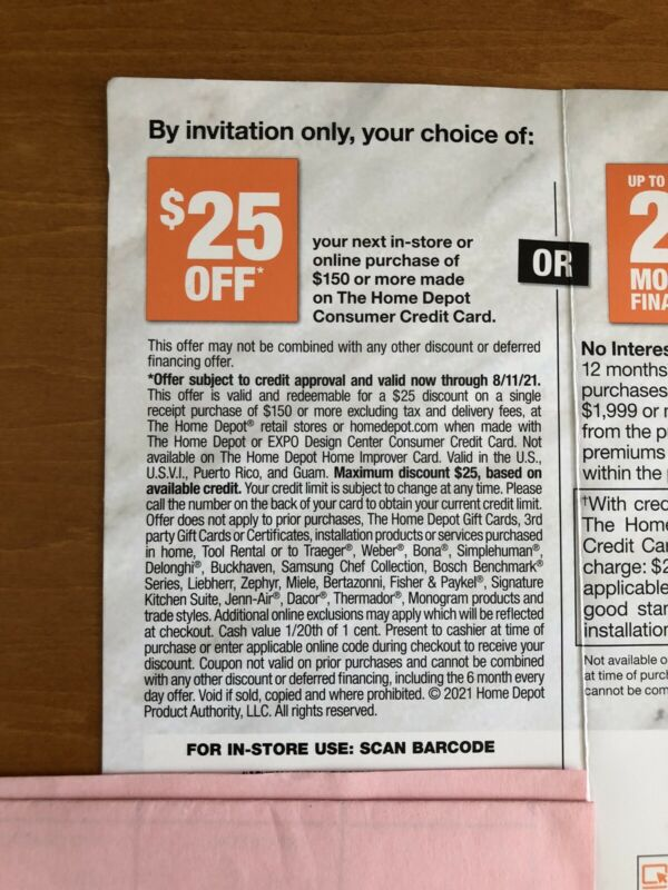 Home Depot $25 OFF $150 online/store purchase coupon Exp. 8/11/21