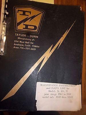 Taylor-dunn Vehicle Partsmaintenanceoperation Manualmodel Bbnm 1964-1969