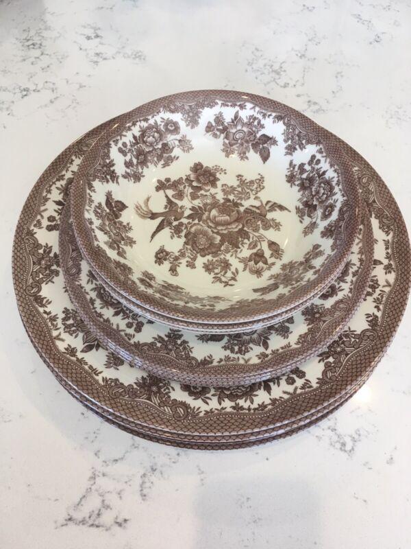 Royal Stafford Asiatic Pheasant Brown Fine Earthenware Bowl Dinner Salad Plates
