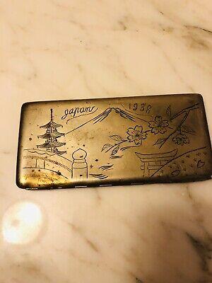 vintage japanese cigarette case Etched 1938