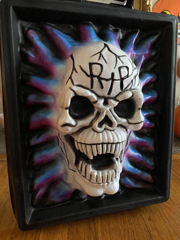 Vintage Halloween Vacuform RIP Scary Skull Wall Decor 3D Scary Vacuform