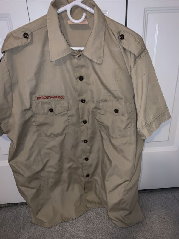 Boy Scout BSA UNIFORM SHIRT Tan Mens Extra Large XL Short Sleeve L55