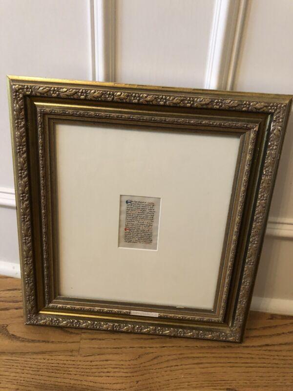 Original Antique Dutch Breviary 2 Sided Manuscript Vellum Rare Book Leaf Framed!