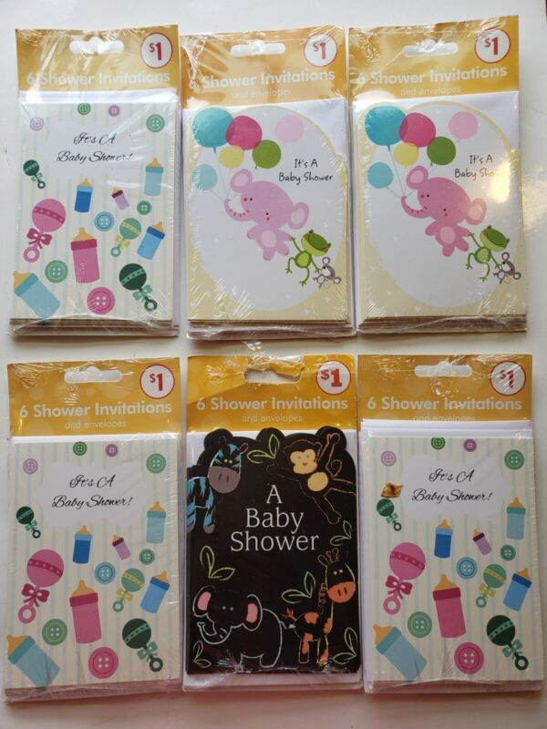 6 packages of 6 Baby Shower Invitation Cards And Envelops (A15)