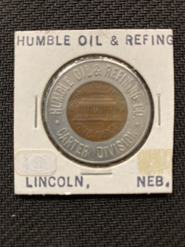 HUMBLE OIL AND REFINING ENCASED PENNY CARTER-LINCOLN DAYS GOOD LUCK TOKEN 1959 D