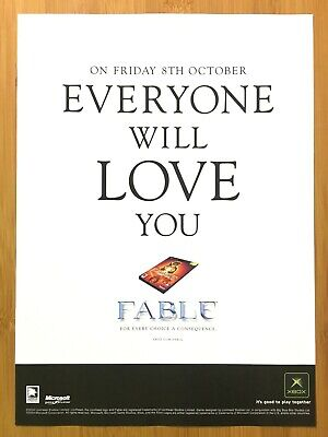 FABLE Xbox 2004 Vintage Print Ad/Poster Official RPG Promo Art UK Exclusive Rare
