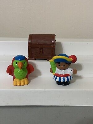 Fisher Price Little People Pirate Parrot Treasure Chest Toy Figures 3 Pcs