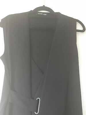 Gorgeous Womans Zara Black Belted Blouse Top Size S (Fits Size 12)
