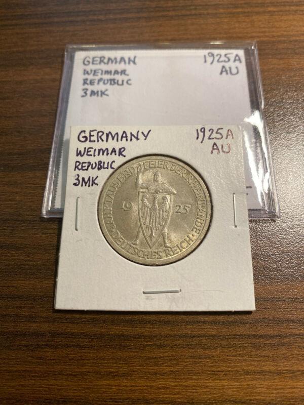 1925A Germany Weimar Republic Silver 3 Marks Rhineland Medieval Knight AU