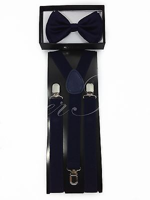 Navy Blue Suspender and Bow tie for Men and Women