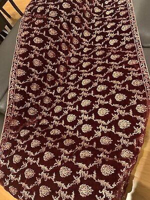 Designer Heavily Embroidered Velvet Shawl/ Scarf in Dark Maroon With Gold Embroidered Velvet Scarf