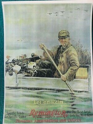 """Remington Firearms & Ammunition and Cutlery Advertising Poster, """"Let 'er Rain"""""""