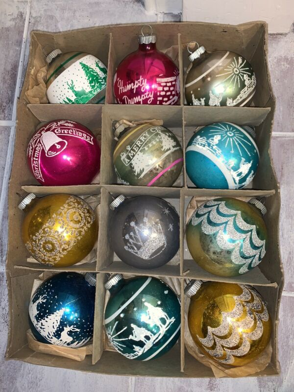 Lot 12 Vintage Christmas Ornaments Shiny Brite Mica Stencil