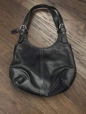 Coach Black Leather Zip Tote Bag Purse Handbag