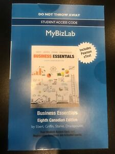 Bussiness Essentials 8th Edition e-text and mybizlab code