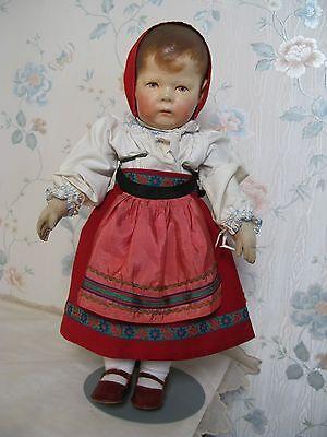 "17"" KATHE KRUSE CLOTH GERMAN WIDE HIPPED #1 DOLL CIRCA 1910"