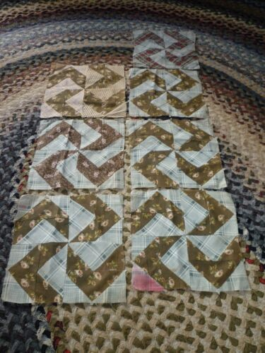 7 ANTIQUE WHIRLIGIG QUILT BLOCKS  approx. 10 in.