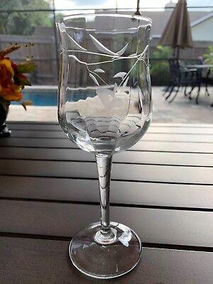 Vintage Optic Etched Stemware Heart And Leaf Pattern Crystal Wine Glass
