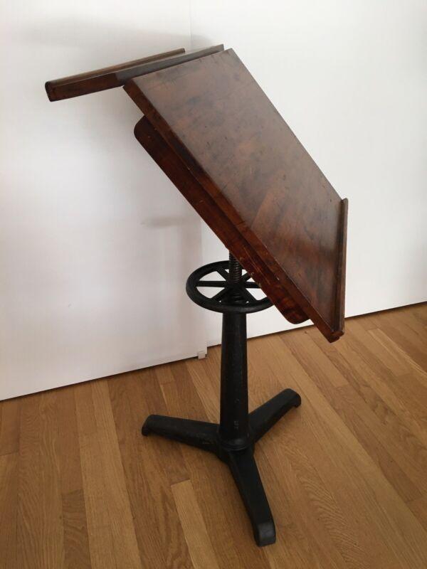 Vtg Dietzgen Style Drafting Table Cast Iron Walnut Industrial Office Desk MCM
