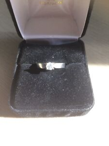 Beautiful woman's white gold engagement ring