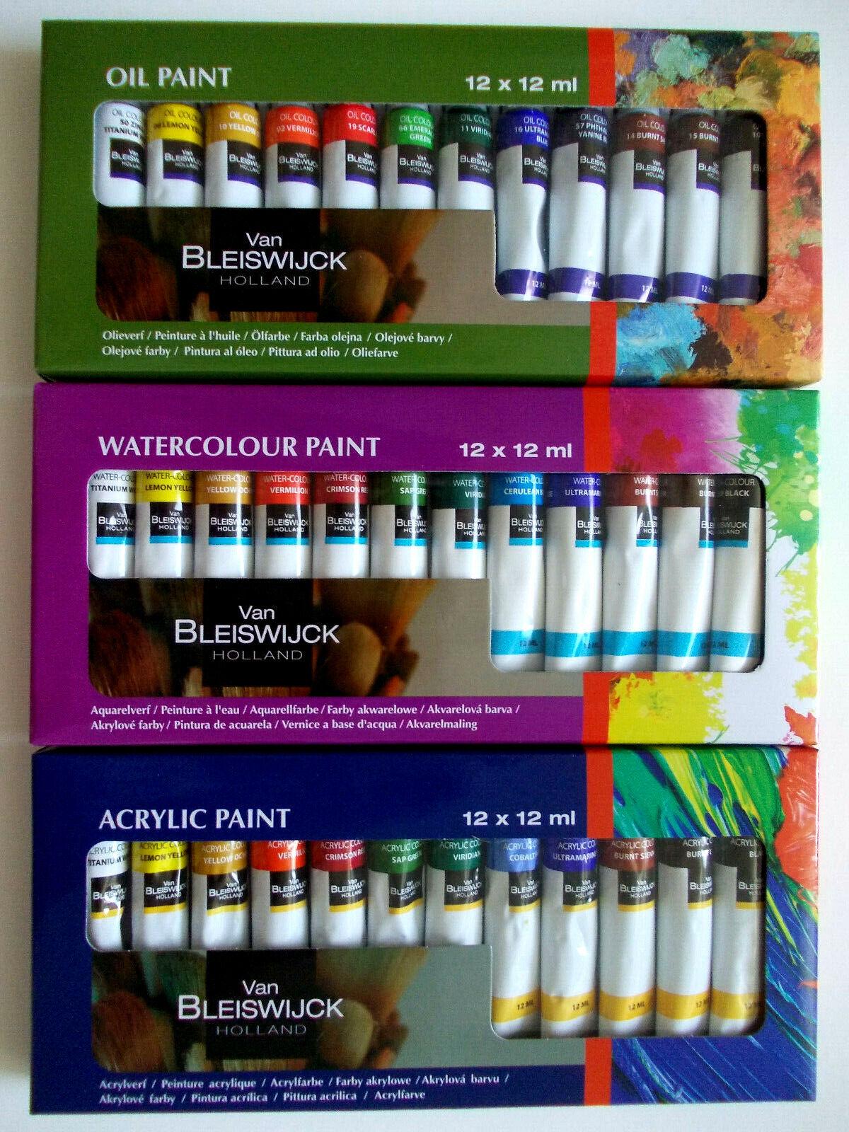 Farbenset Acrylfarben Aquarellfarben Ölfarben je 12 Tuben a`12ml Künstlerfarben