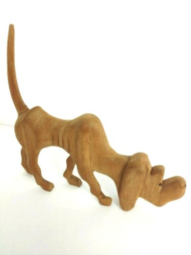 """Hand Carved Wooden Dog  Bloodhound Tail Up Sculpture 5"""""""