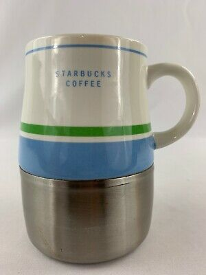 Starbucks 2005 14oz Travel Coffee Mug Beige, Green And Blue With Metal Base