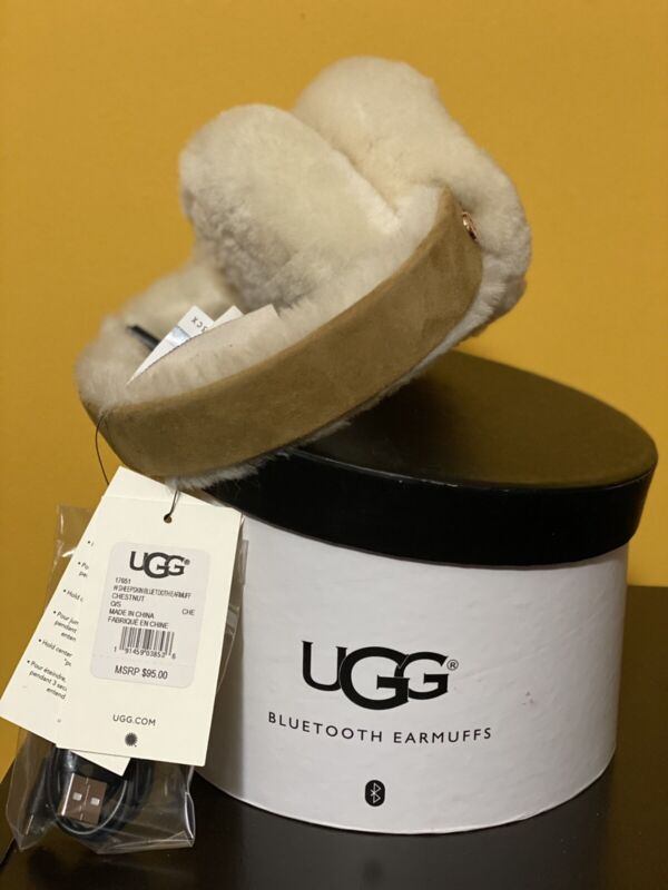 UGG Australia Logo Sheepskin Bluetooth Earmuffs Tech Earphones, Chestnut, New