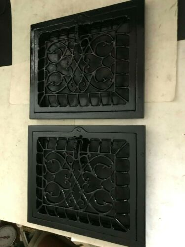 "2 CAST IRON ARTS CRAFT DECO VICTORIAN 11 7/8"" x 9 7/8"" WALL HEAT GRATE REGISTER"