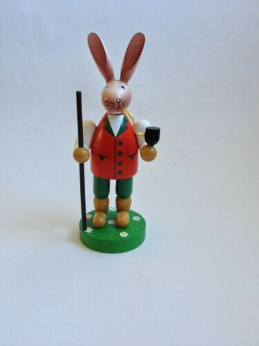 Wooden Carving Rabbit with Walking Stick and Pipe