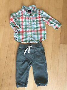 Ensemble chemise et pantalon Baby Gap 6-12 mois