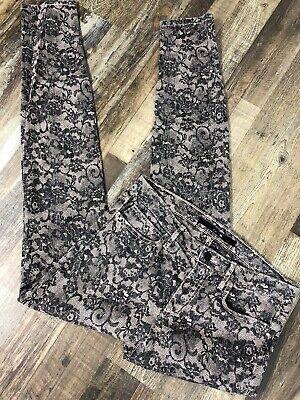 joes Women's 29 Beige Lace Print 5 Pocket Skinny Cotton Blend Jeans - Lace Print Jeans