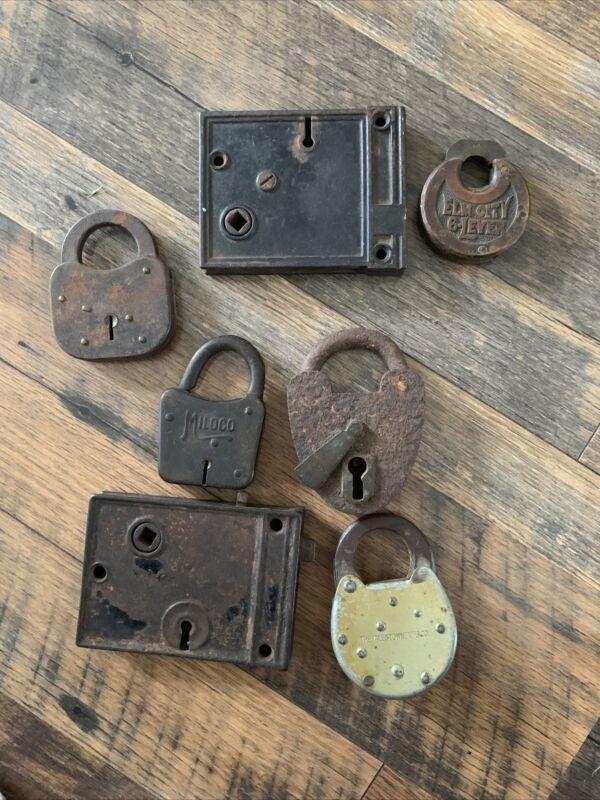 Vintage Pad Locks, Yale & Elm City Miloco Made In the U.S.A.No Keys That Fit!