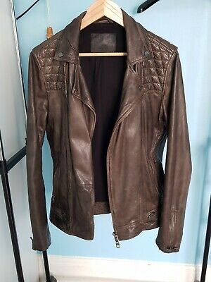 All Saints Mens Brown Cargo Leather Jacket