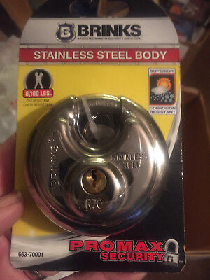 Brinks 663-60001 2-38-inch 60mm Stainless Steel Discus Padlock---new On Card
