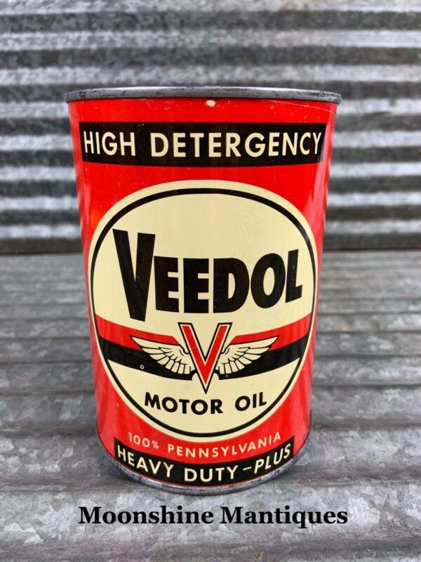 1950's VEEDOL Heavy Duty Motor Oil Can 1 qt. - Gas & Oil