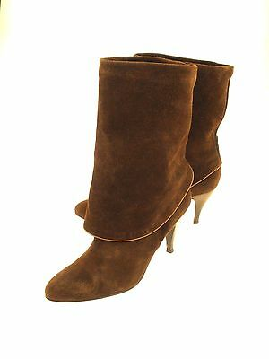 Steve Madden Mid Calf Boots Large Cuff Brown Fine Suede Leather Women's  EUR - Large Calf Women Boots