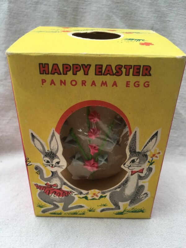 Vintage Antique 3 D PANORAMA EASTER SUGAR EGG - IN ORIGINAL BOX Candy Box