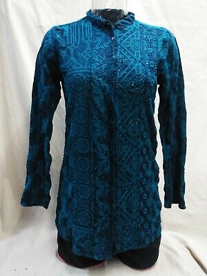 Johnny Was Eyelet Spread Collar Button Down Blouse Blue Evening Size S Womens