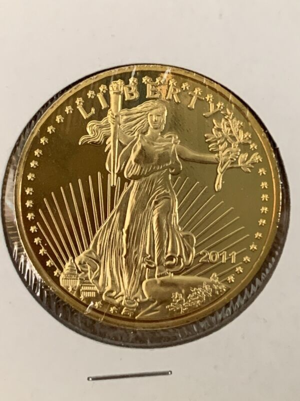 2011 US Liberty Eagle Walking $50 Gold Plated Proof Novelty Coin