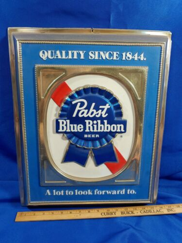 1962 Pasbst Blue Ribbon PBR Beer Advertising Sign Rare VTG 19x16 A Lot To Look