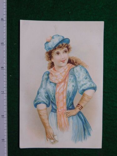 1870s-80s Lady in Blue Dress and Hat with Pink Scarf Victorian Trade Card F30