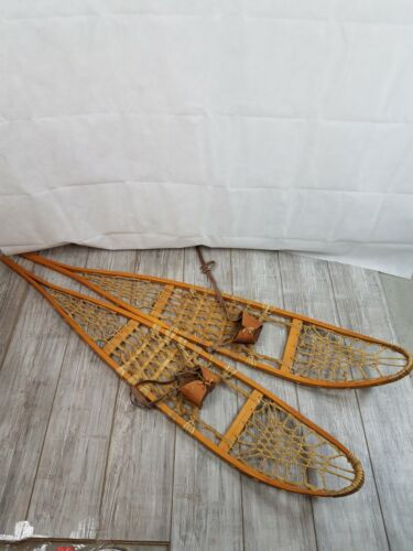 """Vintage Wood and Rawhide Snowshoes Cabin Decoration 10"""" x 56"""" Snowshoe"""