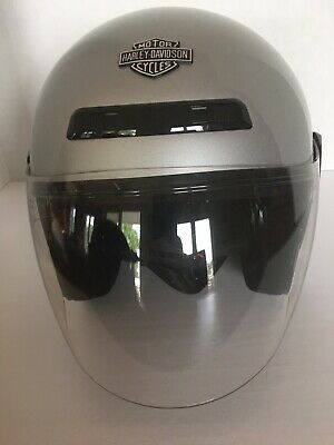 Harley Davidson Silver Jet Motorcycle Helmet Sz Large DOT w/ Dust Bag
