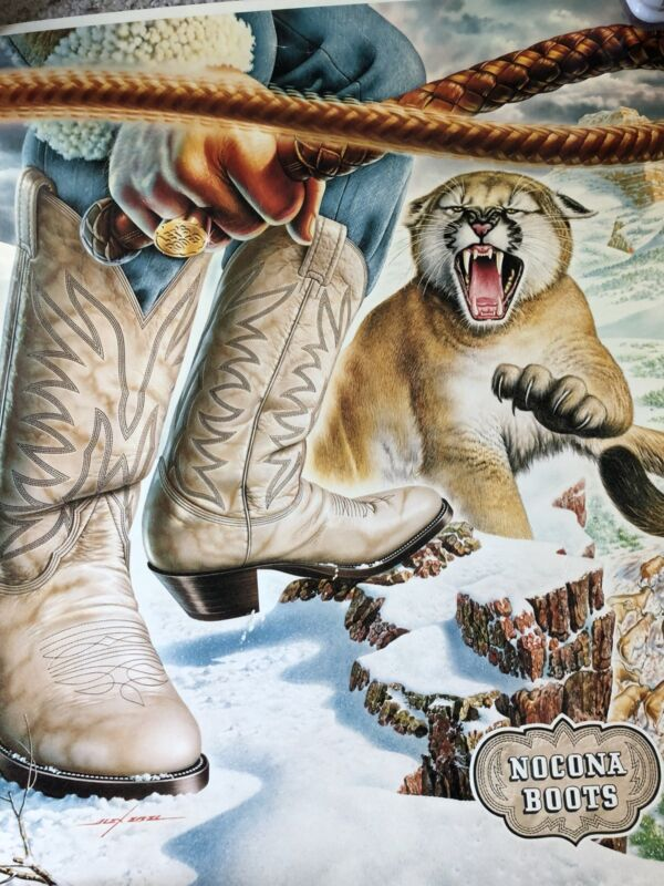 Rare. VTG Nocona Boots Store Display Poster Alex Ebel Art Mountain Tiger